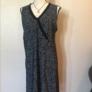 Black white paisley cotton midi dress